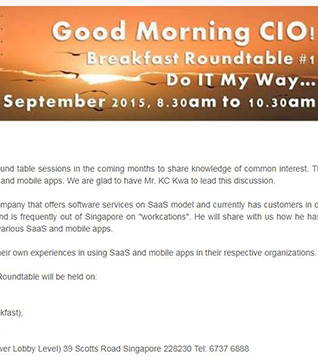Good Morning CIO! Breakfast Roundtable #1 - Do IT My Way...