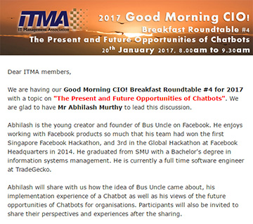 Good Morning CIO! Breakfast Roundtable #4 for 2017 with a topic on